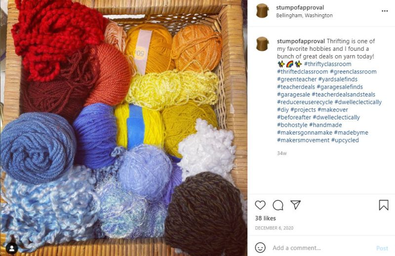 Instagram post featuring large box of yarn odds and ends
