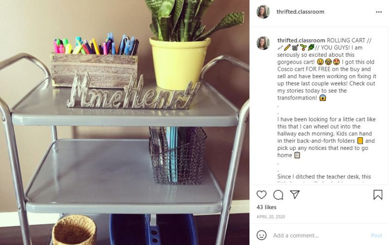 Instagram account featuring rolling metal storage cart (Bargain Shopping Guide)