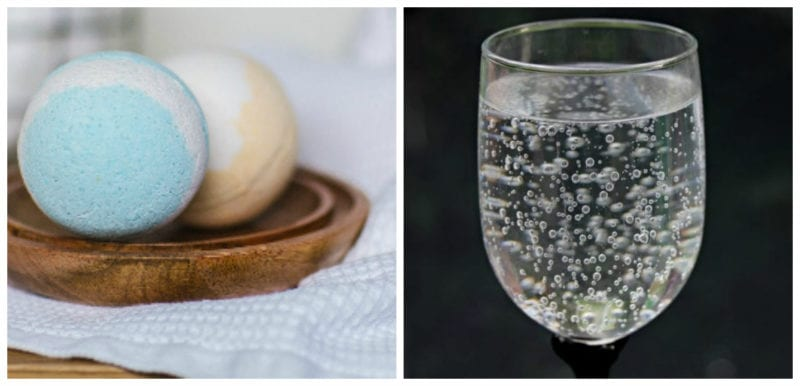 Bath bombs and a glass of fizzy water (Third Grade Science)