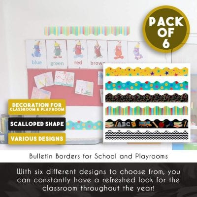 Bulletin board borders, patterned pack of 6