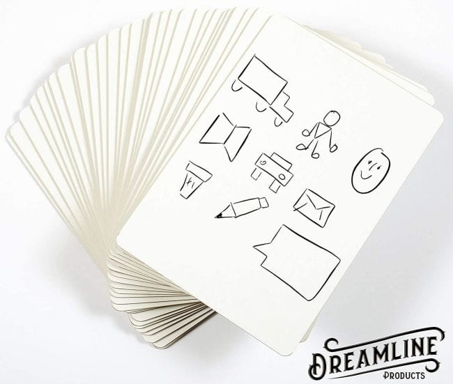 Stack of 30 small dry erase boards with shapes written on the top board