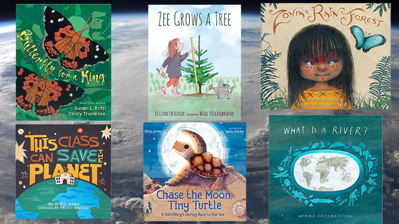 Collage of six earth day books for kids