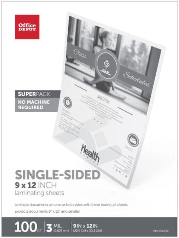Office Depot Single-Sided Laminating Sheets