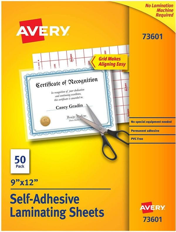 Avery Self-Adhesive Laminating Pouches, 9 by 12 inches, pack of 50 (Best Laminating Pouches)