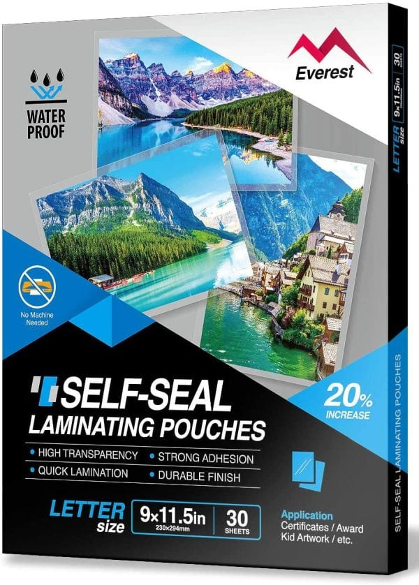 Everest Self-Seal Laminating Pouches (Best Laminating Pouches)