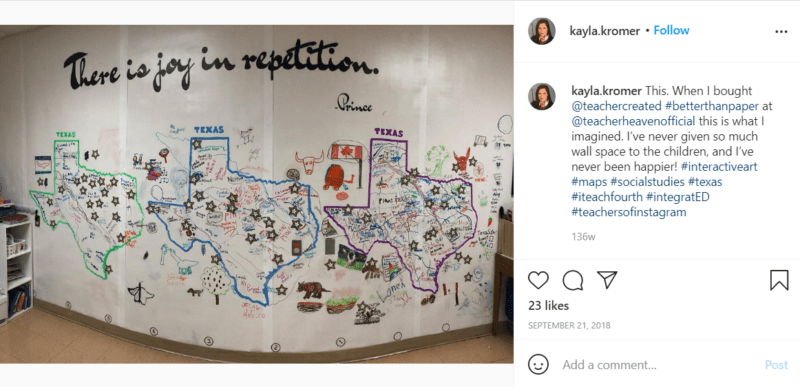 Still of better than paper gives you a classroom mural wall from Instagram
