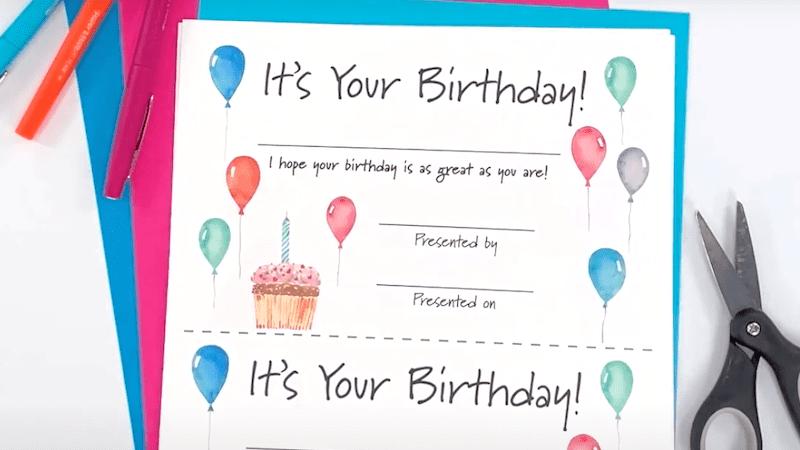 Birthday Certificate download