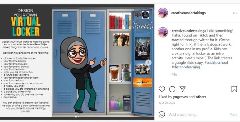 Bitmoji teacher sharing her locker full of posters of Avengers and coffee