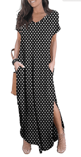 Black and white polka dot dress with pockets