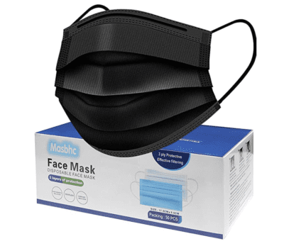 Black disposable face mask pack