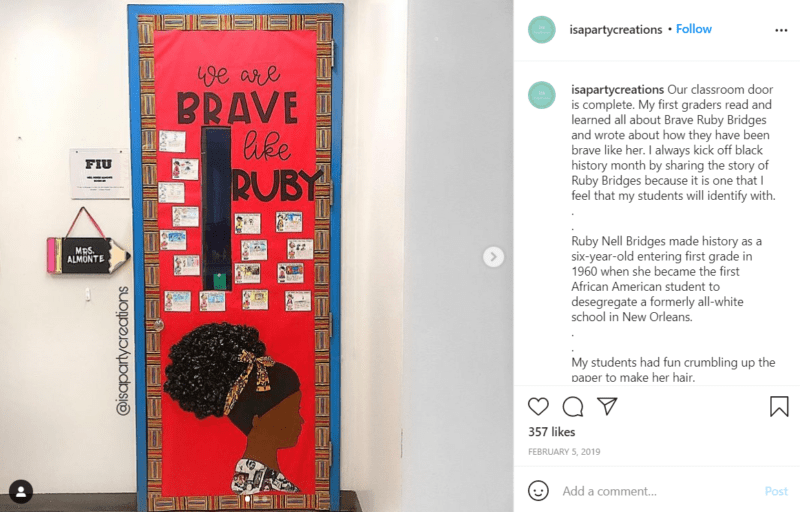 Still of black history month doors be brave like ruby from Instagram