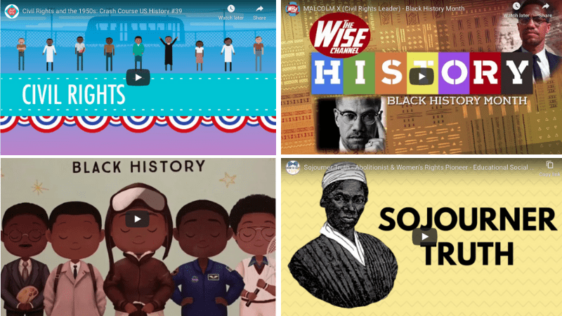 Collage of video stills from videos for Black History Month