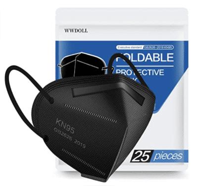 Pack of black kn95 face masks