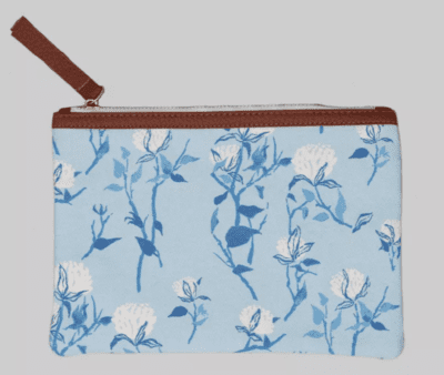 Blue floral linen pencil pouch from Target