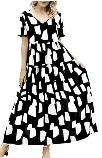 Boho style black and white patterned maxi dress