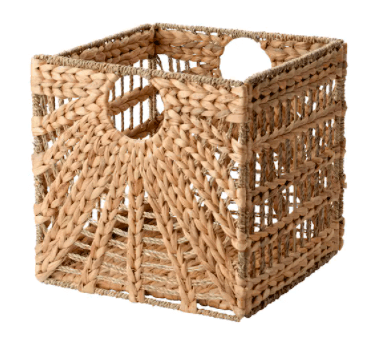 square woven basket with a sunburst patter on the side