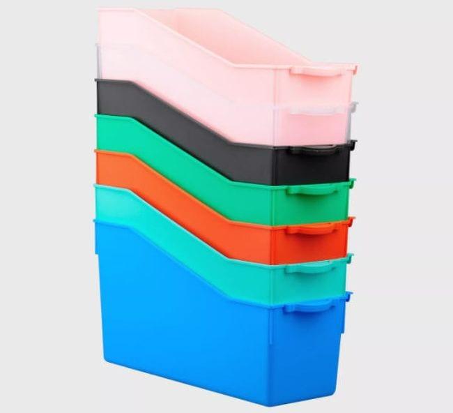 Set of 7 file folder bins in various colors