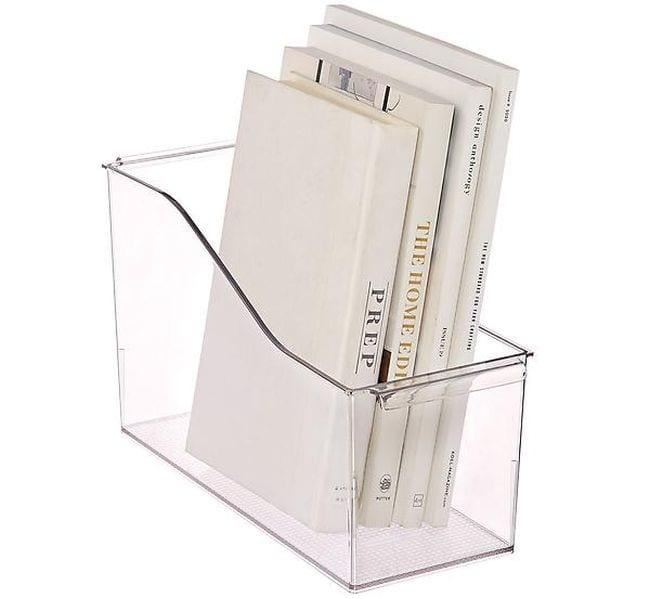 Clear plastic bin holding several books