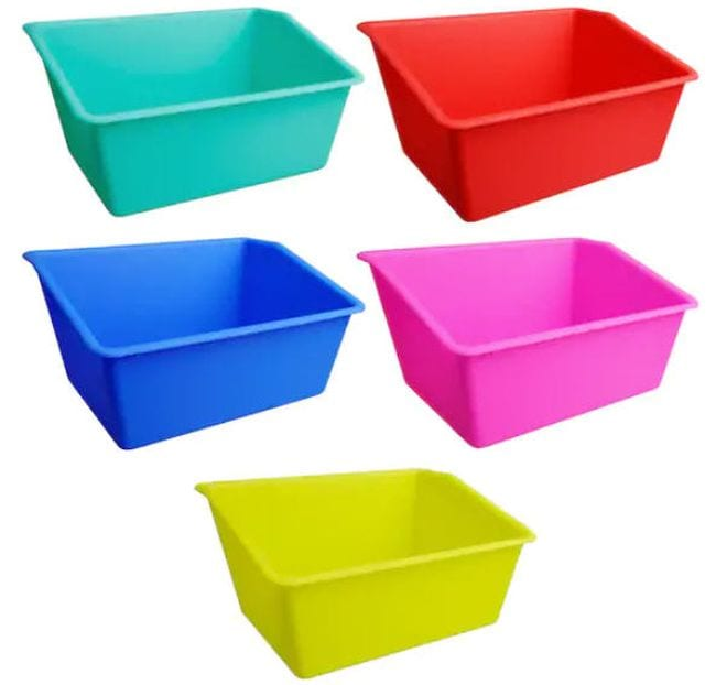 Wide book bins in teal, red, blue, pink, and yellow