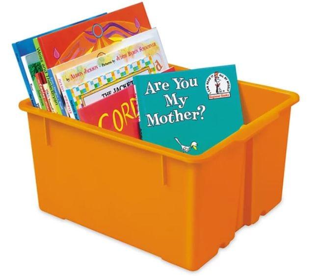 Orange square bin filled with children's books