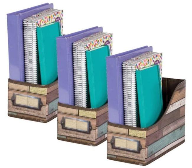 Reclaimed wood print book bins holding colorful binders