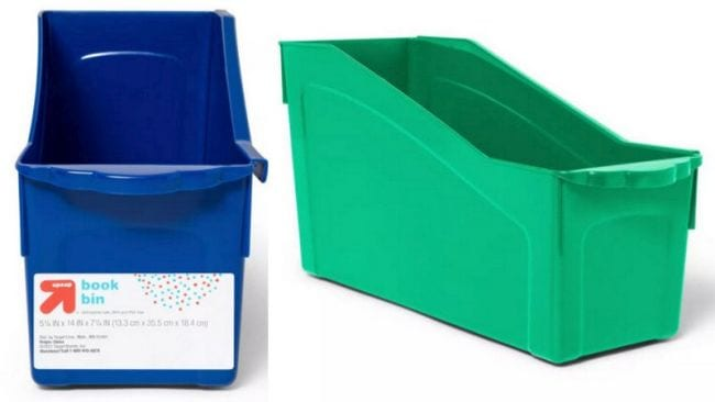 Blue and green bin for holding folders or books