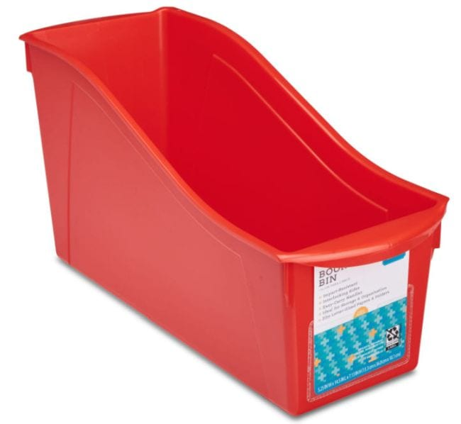 Red book bin with front label pocket