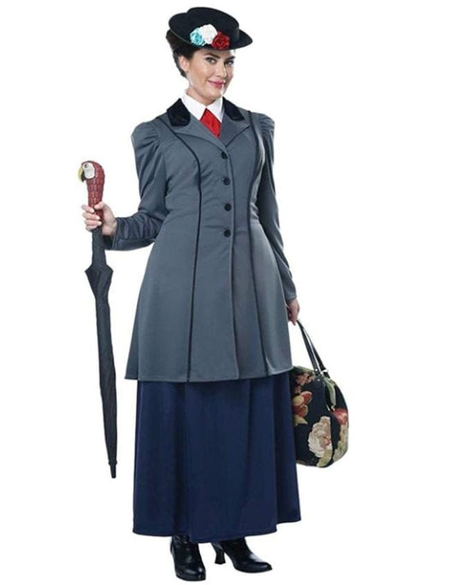 Woman wearing old fashioned skirt suit, black hat, and carrying an umbrella