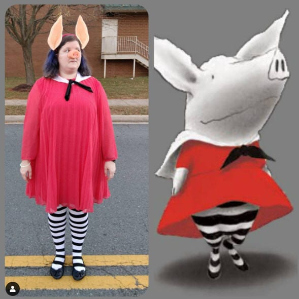Woman wearing red dress, black and white stockings, and pig nose and ears standing next to the book character Olivia