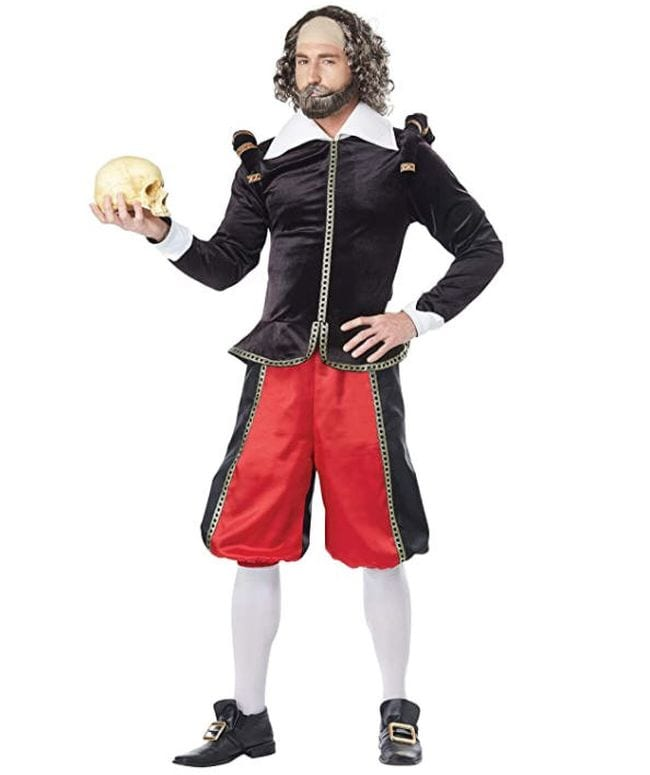Man dressed as William Shakespeare holding a skull (Book Character Costume Ideas)