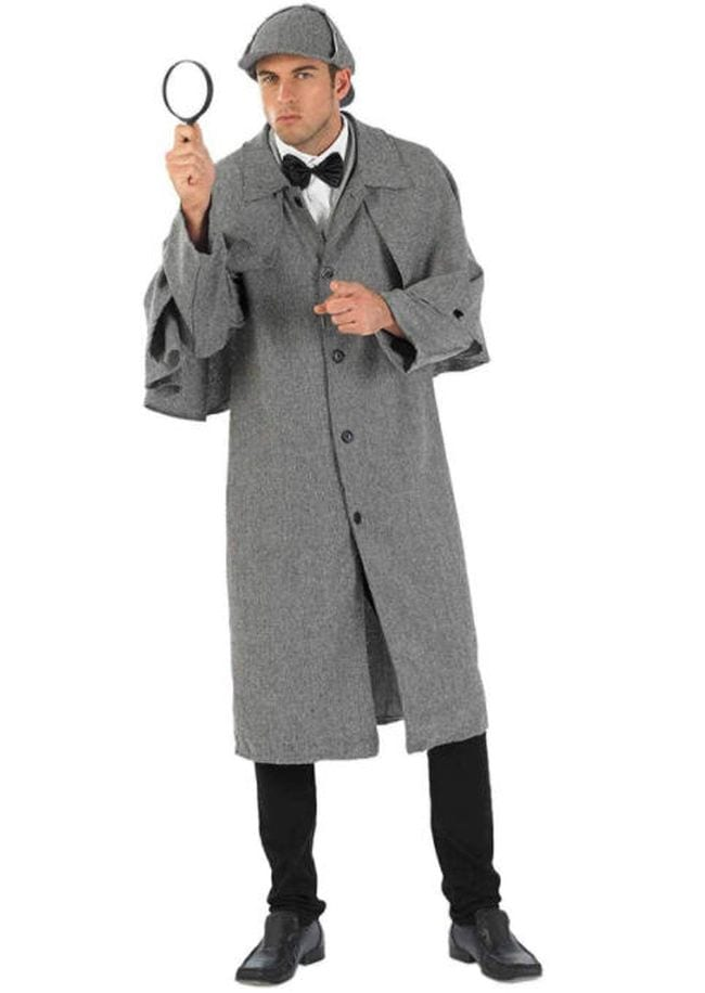 Man wearing trench coat and deerstalker hat carrying a magnifying glass (Book Character Costume Ideas)