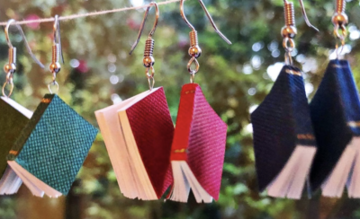 Novel book earrings with pages