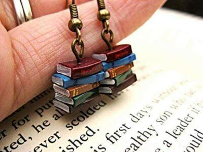Book stack dangle teacher earrings