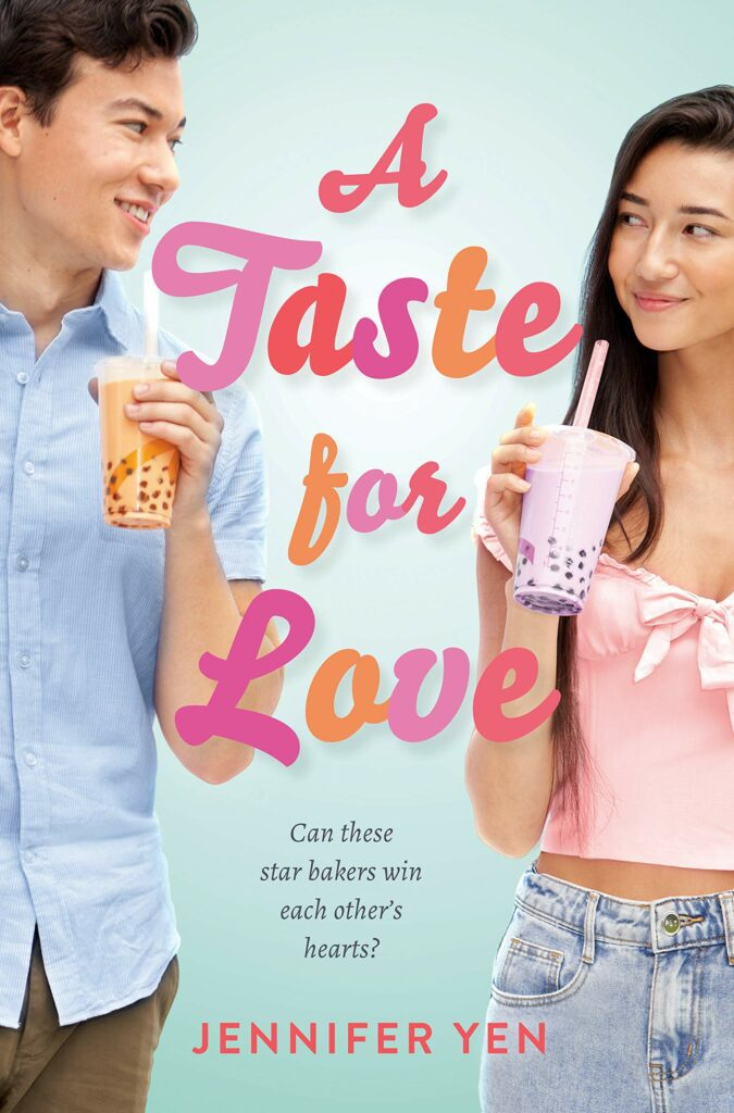Teen boy and girl holding drink on cover of A Taste for Love