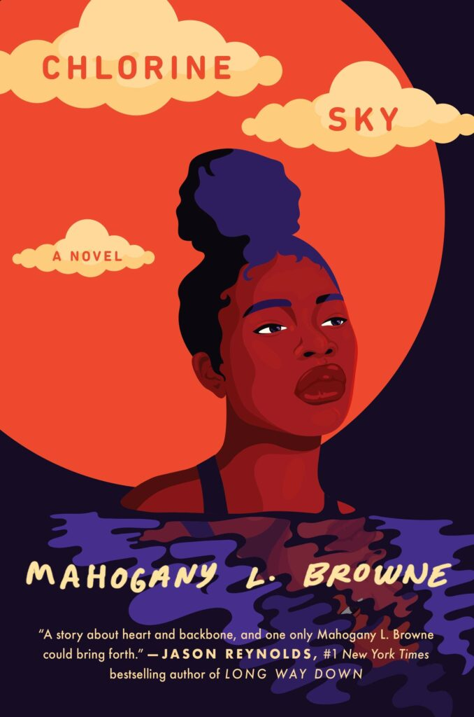 Young black girl staring up on cover of Chlorine Sky