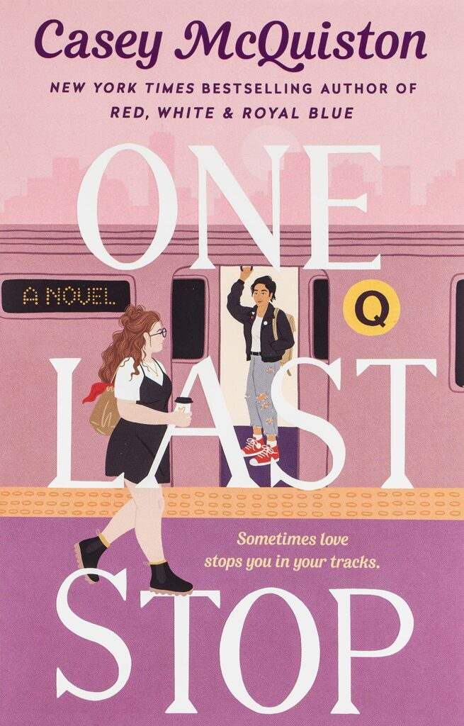 Women getting onto a pink train on cover of One Last Stop