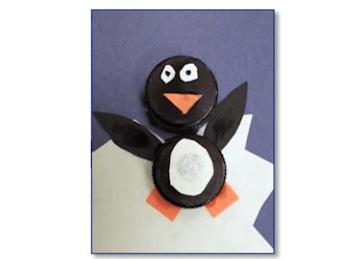 Penguin made from bottle caps.