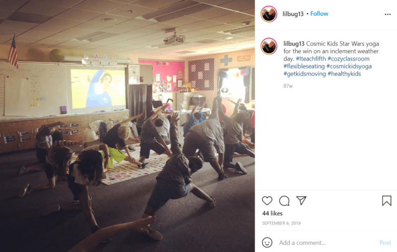 Still of bring hygge to your classroom with yoga from Instagram