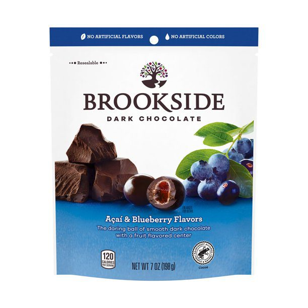 Acai ve Yabanmersinli BROOKSIDE Bitter Çikolata, ruh halini yükselten yiyeceklere örnek olarak gösteriliyor