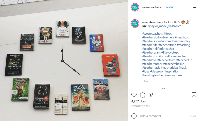 Still of build your schools reading culture by leaving reminders of books everywhere from Instagram