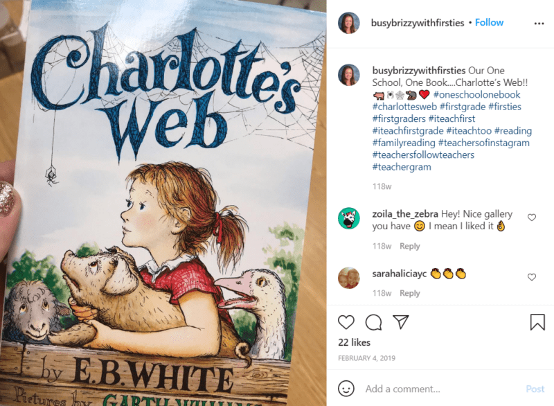 Still of build your school's reading culture with a whole school read from Instagram