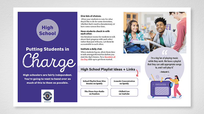 Flat lay of high school page of Building Community in the Hybrid Classroom guide