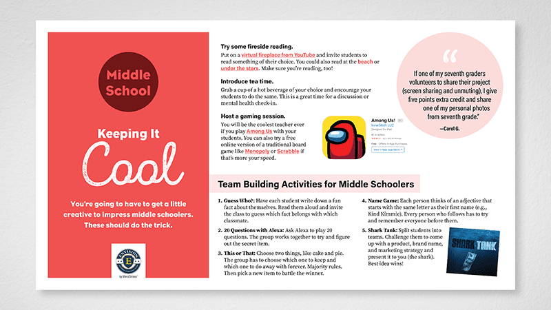 Flat lay of middle school page of Building Community in the Hybrid Classroom guide