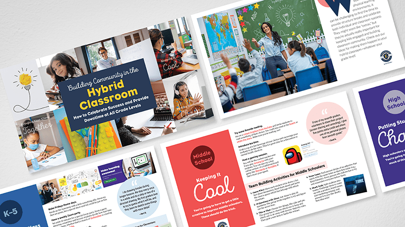 Flat lay of Building Community in the Hybrid Classroom guide