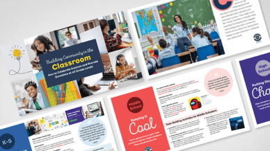Flat lay of Building Community in the Classroom guide