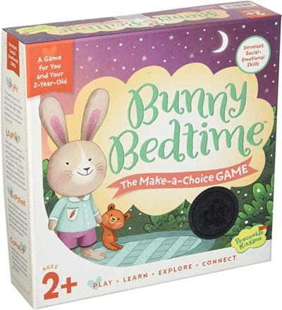 Box for Bunny Bedtime Make-a-Choice game with a bunny in pajamas with a teddy bear