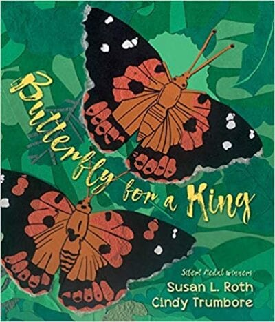 Book cover for Butterfly For a King as an example of Earth Day books for kids