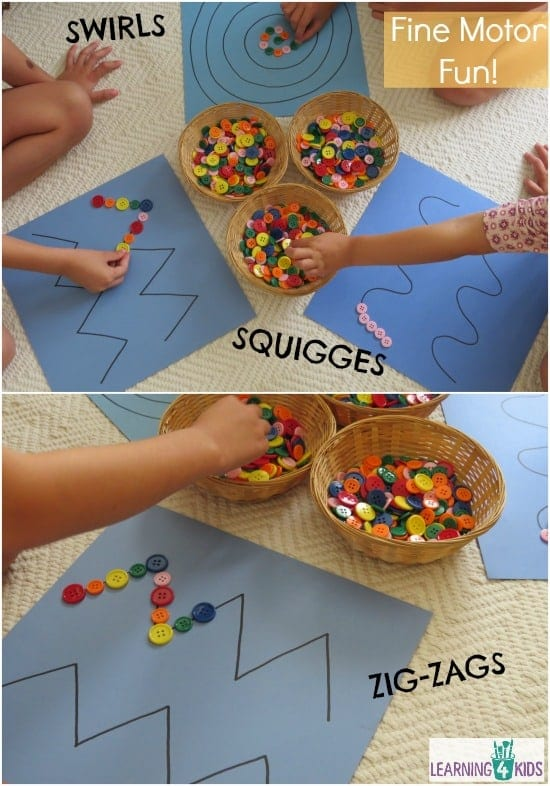 Children placing colorful buttons on predrawn lines to practice writing skills