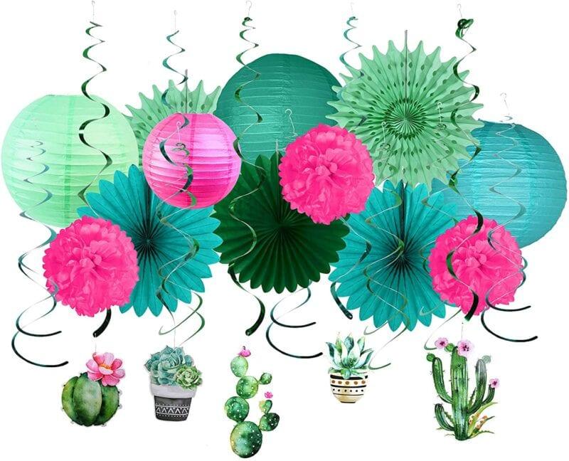 Green, blue, and pink hanging paper cactus lanterns