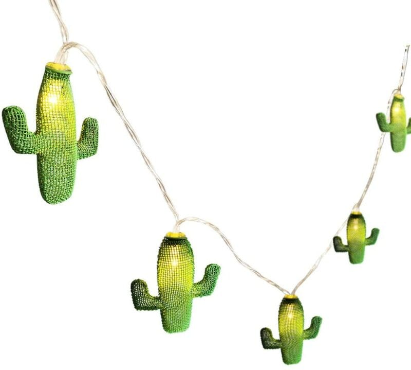 Cactus shaped green hanging string lights for classroom